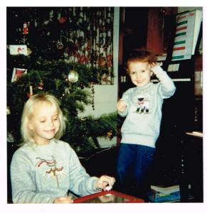 Linda and Julia w Christmas Tree and Carols on Organ (2)