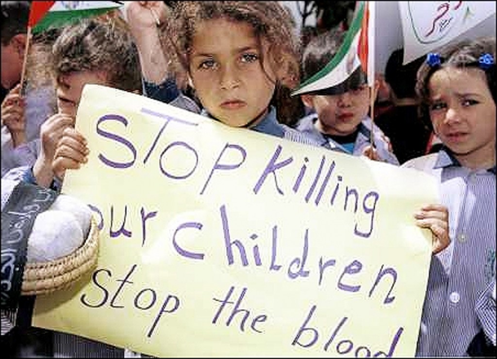 Children protesting war.