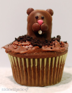 An Almond Joy Groundhog tops this holiday cupcake.